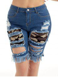 Camouflage Panel Distressed Denim Shorts -