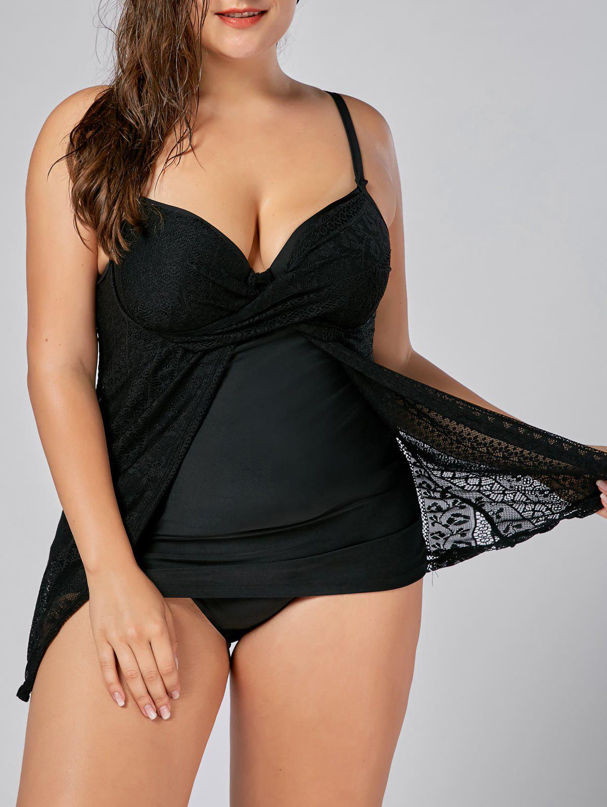 Push Up Underwire Plus Size Lace TankiniWOMEN<br><br>Size: 5XL; Color: BLACK; Gender: For Women; Swimwear Type: Tankini; Material: Polyester,Spandex; Bra Style: Push Up; Support Type: Underwire; Neckline: Spaghetti Straps; Pattern Type: Solid; Waist: High Waisted; Weight: 0.3700kg; Package Contents: 1 x Tankini Top 1 x Briefs;