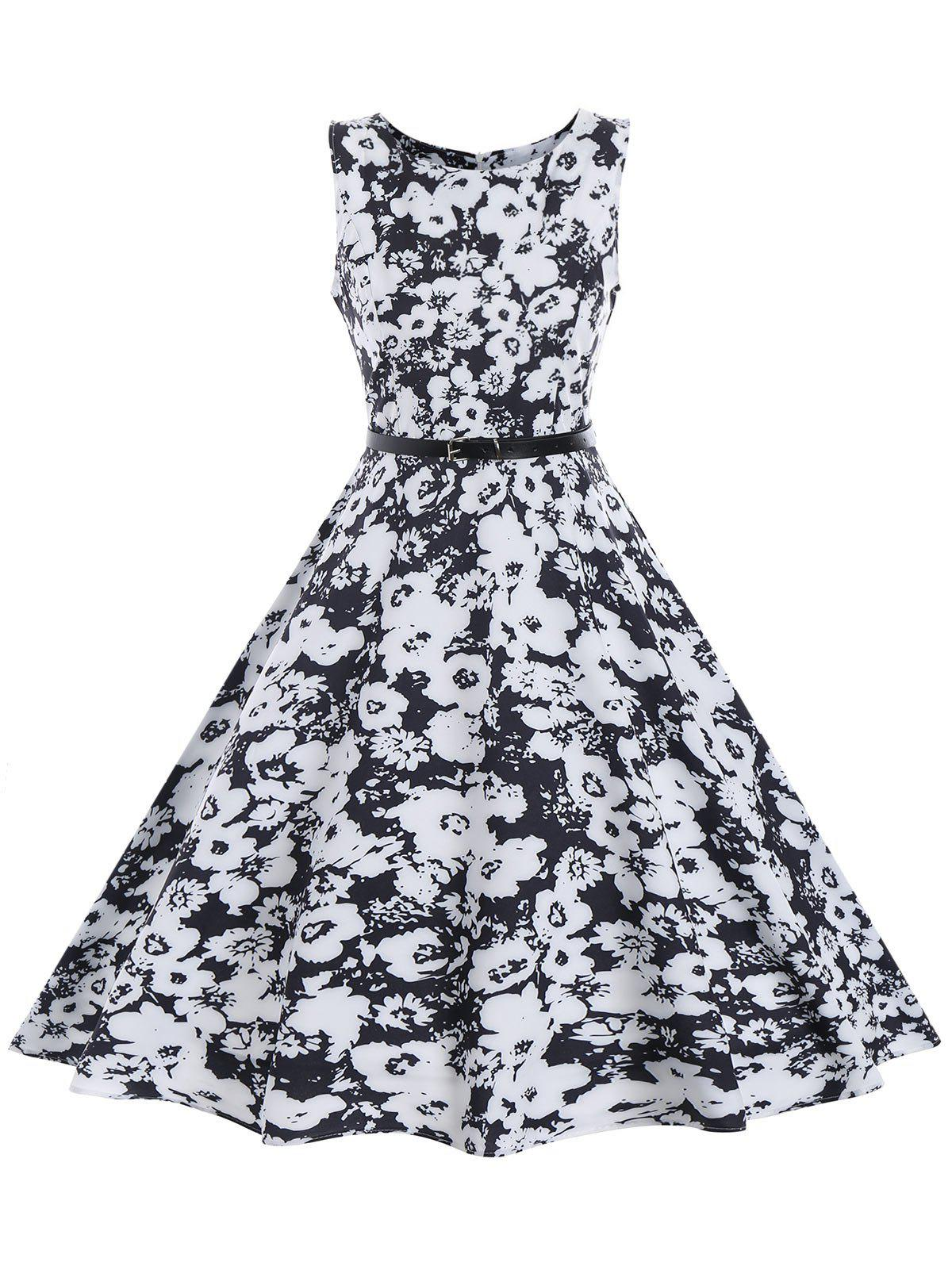 Chic Vintage Floral Sleeveless A Line Dress