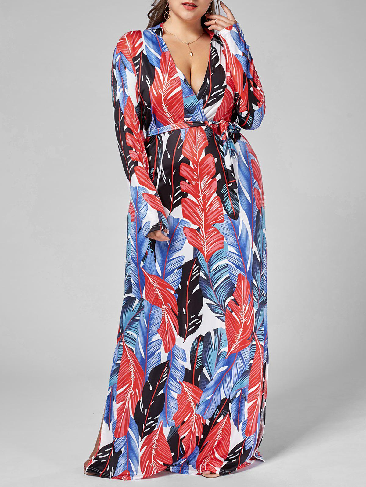 Chic Long Sleeve Palm Leaf Print Plus Size Dress