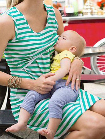 Sleeveless Striped Nursing DressWOMEN<br><br>Size: M; Color: WHITE AND GREEN; Style: Casual; Material: Polyester; Silhouette: A-Line; Dresses Length: Knee-Length; Neckline: Scoop Neck; Sleeve Length: Sleeveless; Pattern Type: Stripe; With Belt: No; Season: Summer; Weight: 0.2700kg; Package Contents: 1 x Dress; Occasion: Casual;