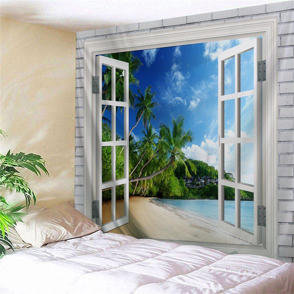 Beach Trees Window Print Tapestry Wall Hanging Art DecorationHOME<br><br>Size: W71 INCH * L91 INCH; Color: COLORMIX; Style: Beach Style; Theme: Beach Theme; Material: Polyester; Feature: Washable; Shape/Pattern: Plant,Print; Weight: 0.4000kg; Package Contents: 1 x Tapestry;