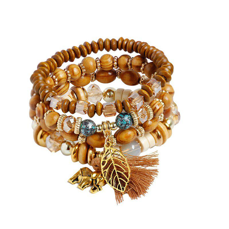 Elephant Leaf Tassel Wooden Beaded Bracelet SetJEWELRY<br><br>Color: COFFEE; Item Type: Charm Bracelet; Gender: For Women; Chain Type: Beads Bracelet; Style: Trendy; Shape/Pattern: Animal,Tassel; Weight: 0.0600kg; Package Contents: 4 x Bracelets (Piece);