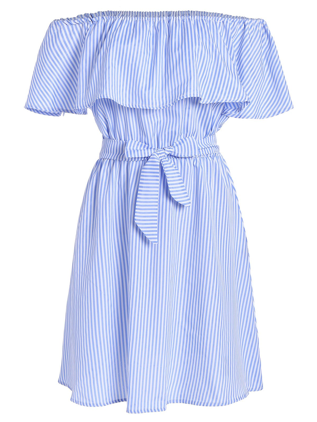 Affordable Off The Shoulder Tie Waist Stripe Dress