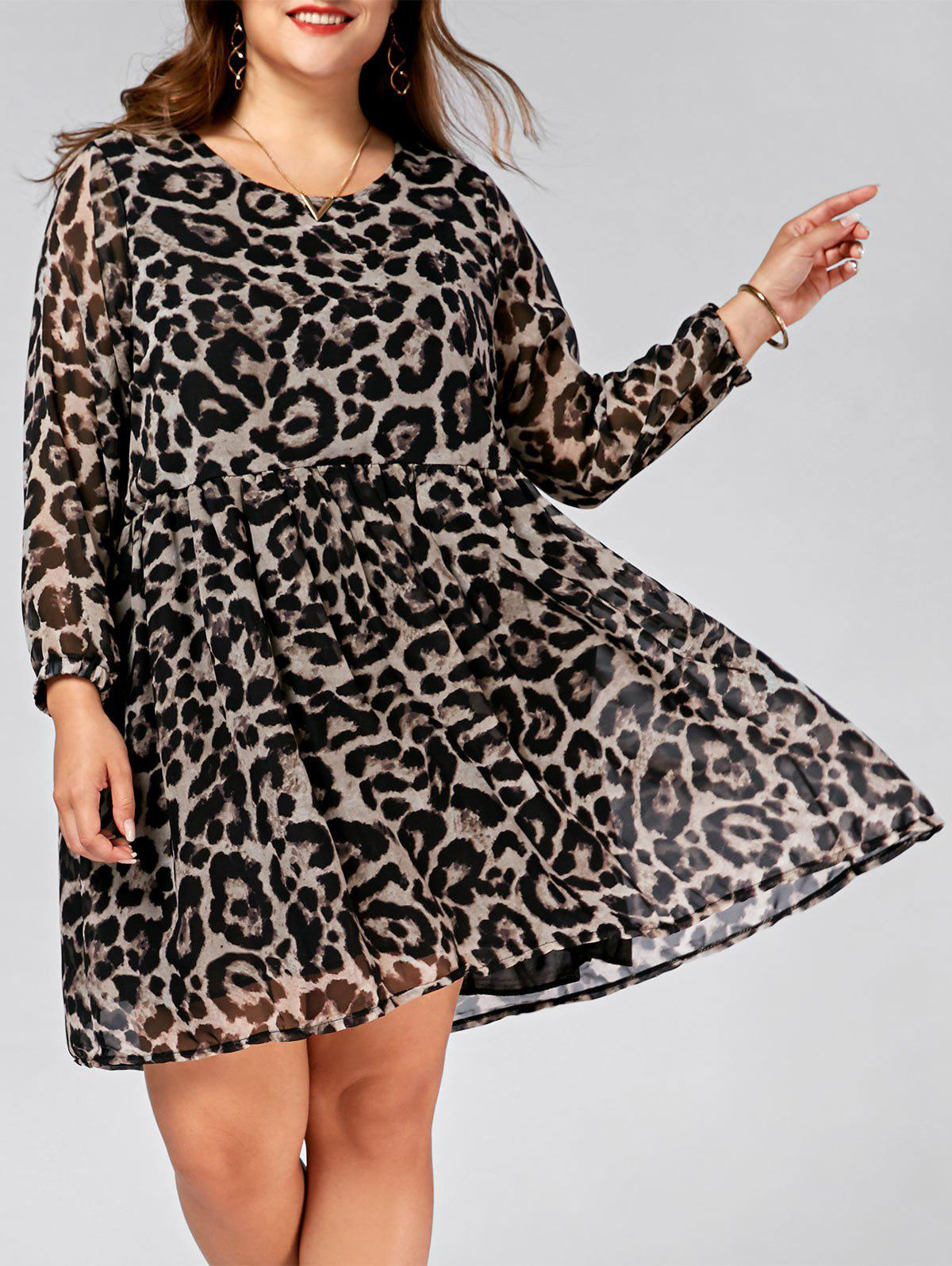 Plus Size Chiffon Leopard Printed Smock Dress