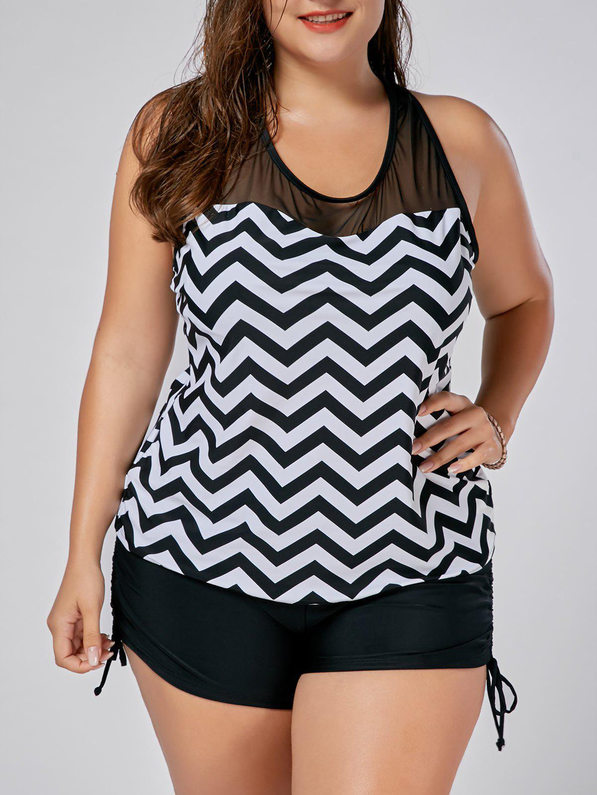 Mesh Insert Zigzag Plus Size Tankini SetWOMEN<br><br>Size: 3XL; Color: BLACK; Gender: For Women; Swimwear Type: Tankini; Material: Polyester,Spandex; Bra Style: Padded; Support Type: Wire Free; Pattern Type: Others; Embellishment: Mesh; Waist: Natural; Elasticity: Micro-elastic; Weight: 0.3700kg; Package Contents: 1 x Swim Top  1 x Panties;