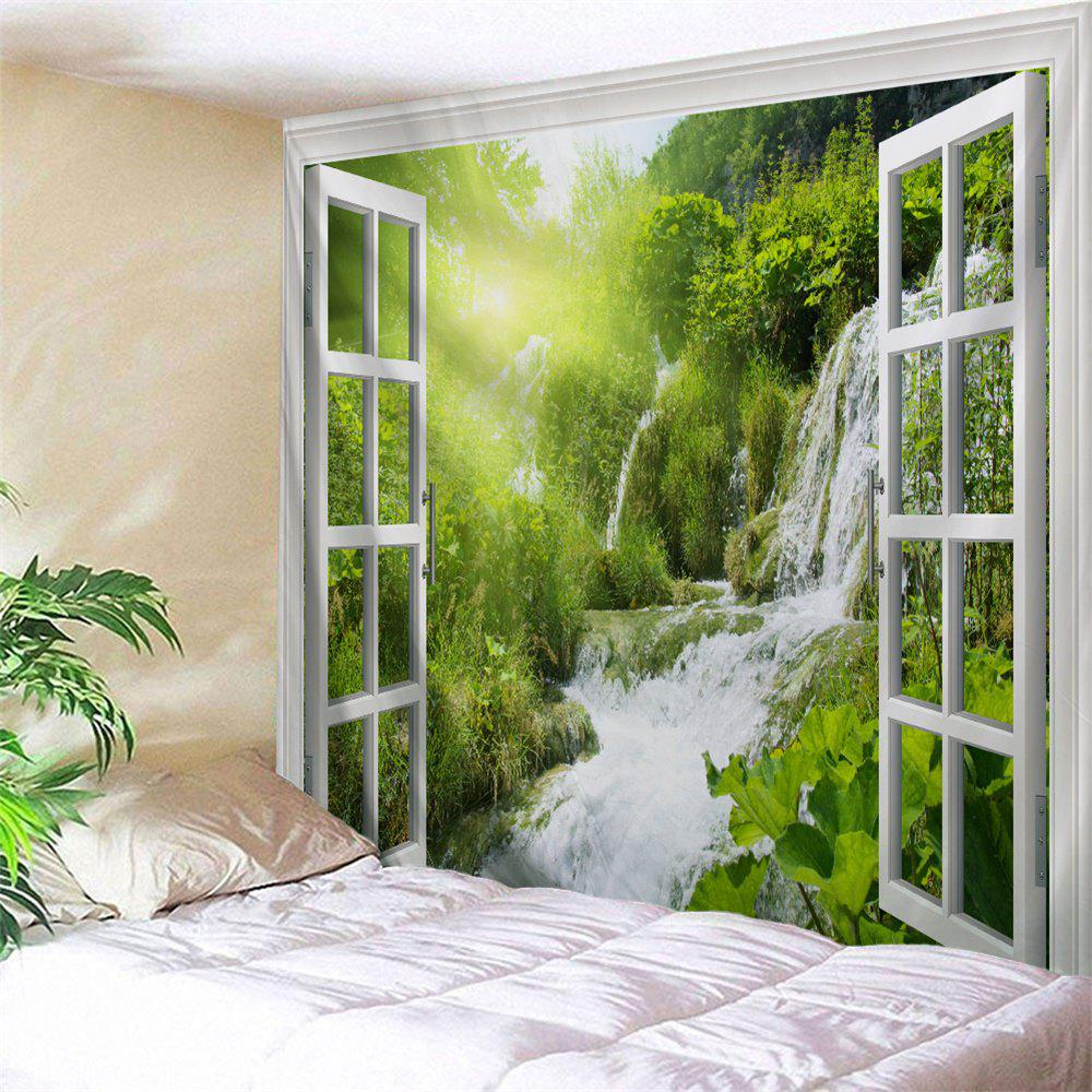 3D Window Landscape Print Wall Art Decor TapestryHOME<br><br>Size: W71 INCH * L91 INCH; Color: LIGHT GREEN; Style: Natural; Theme: Landscape; Material: Polyester; Feature: Removable,Washable; Shape/Pattern: Print; Weight: 0.3800kg; Package Contents: 1 x Tapestry;