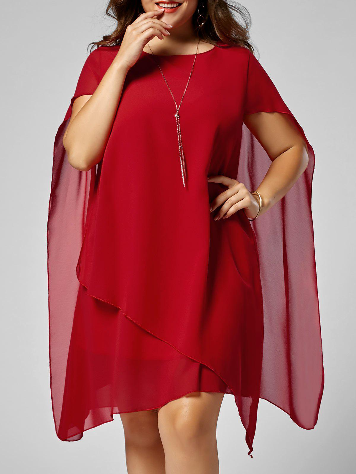 Asymmetric Chiffon Plus Size Cape Swing Shift DressWOMEN<br><br>Size: 3XL; Color: RED; Style: Brief; Material: Polyester; Silhouette: Asymmetrical; Dresses Length: Knee-Length; Neckline: Round Collar; Sleeve Length: Short Sleeves; Pattern Type: Solid Color; With Belt: No; Season: Summer; Weight: 0.4200kg; Package Contents: 1 x Dress;