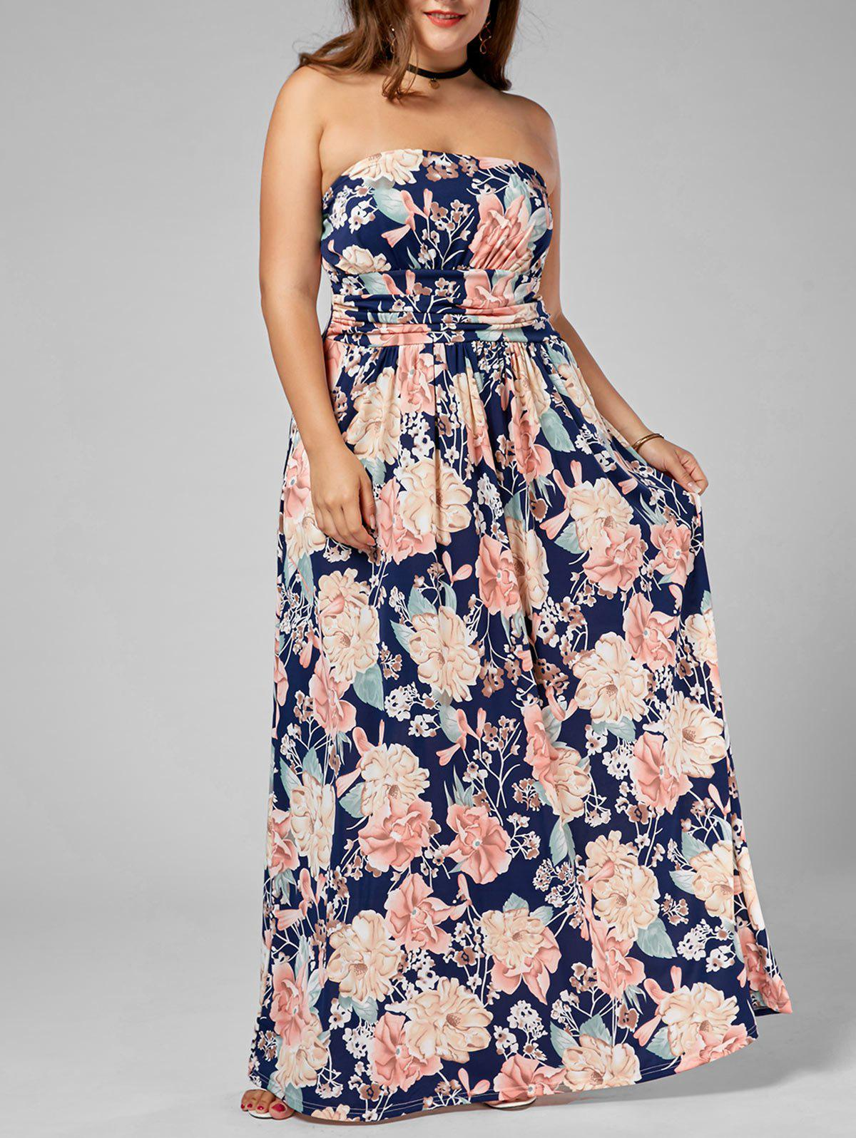 Affordable Long Floral Plus Size Strapless Dress