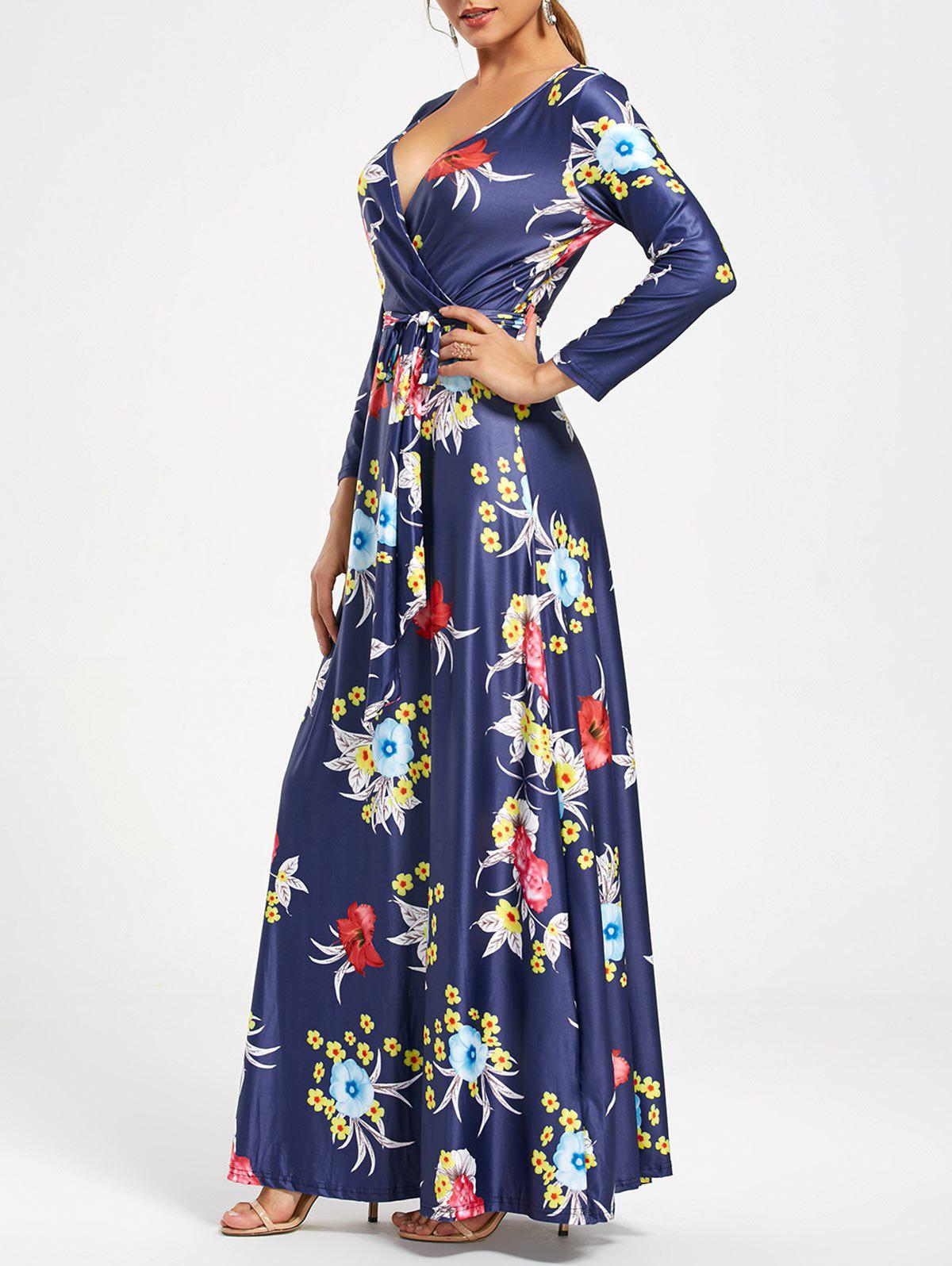 Hot V Neck Long Floral Surplice Maxi Dress