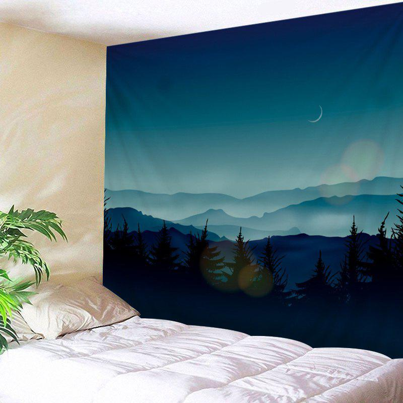 Mountains Night Print Tapestry Wall Hanging Art DecorationHOME<br><br>Size: W79 INCH * L59 INCH; Color: DEEP BLUE; Style: Natural; Theme: Landscape; Material: Polyester; Feature: Washable; Shape/Pattern: Plant; Weight: 0.4500kg; Package Contents: 1 x Tapestry;