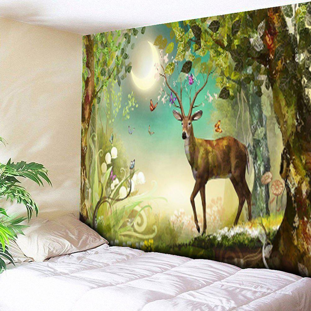 Forest Deer Tapestry Animal Wall HangingHOME<br><br>Size: W79 INCH * L59 INCH; Color: GREEN; Style: Natural; Theme: Animals,Plants/Flowers; Material: Cotton,Polyester; Feature: Removable,Washable; Shape/Pattern: Forest,Insect,Print; Weight: 0.3000kg; Package Contents: 1 x Tapestry;
