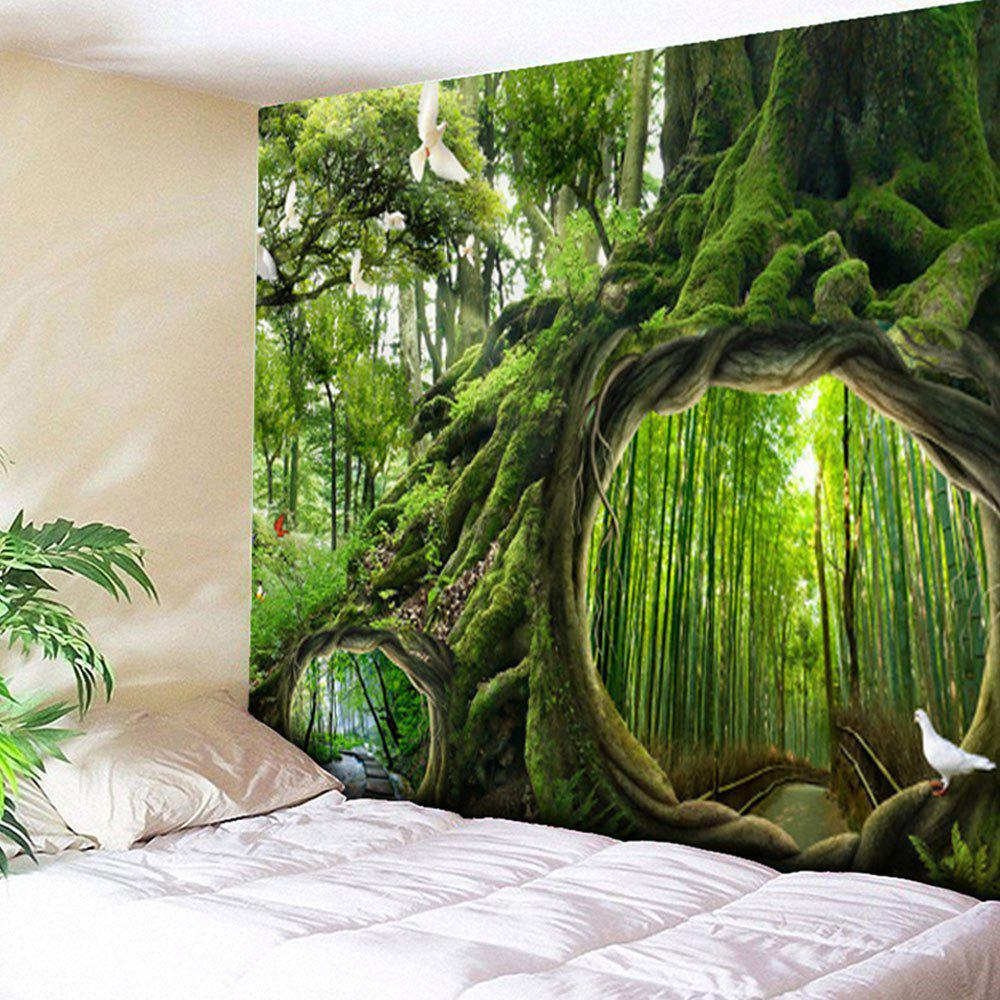 Wall Hanging Forest Life Tree Print TapestryHOME<br><br>Size: W79 INCH * L59 INCH; Color: GREEN; Style: Natural; Theme: Landscape; Material: Cotton,Polyester; Feature: Removable,Washable; Shape/Pattern: Animal,Forest,Plant,Print; Weight: 0.3000kg; Package Contents: 1 x Tapestry;