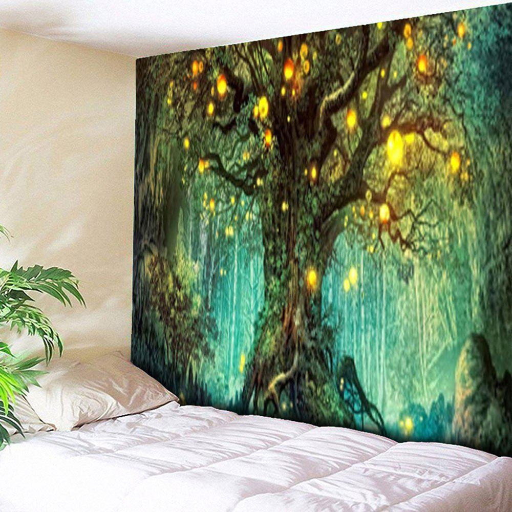 Life Tree Pattern Wall Hanging TapestryHOME<br><br>Size: W79 INCH * L59 INCH; Color: GREEN; Style: Natural; Material: Cotton,Polyester; Shape/Pattern: Forest,Plant,Print; Weight: 0.3000kg; Package Contents: 1 x Tapestry;