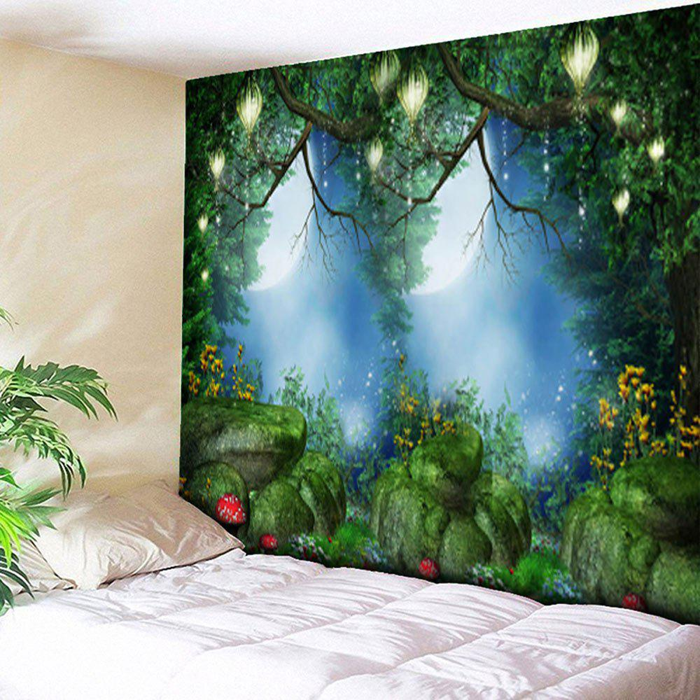 Forest Print Wall Hanging Bedroom TapestryHOME<br><br>Size: W79 INCH * L59 INCH; Color: GREEN; Style: Natural; Theme: Cartoon; Material: Cotton,Polyester; Feature: Removable,Washable; Shape/Pattern: Floral,Forest,Plant,Print; Weight: 0.3000kg; Package Contents: 1 x Tapestry;