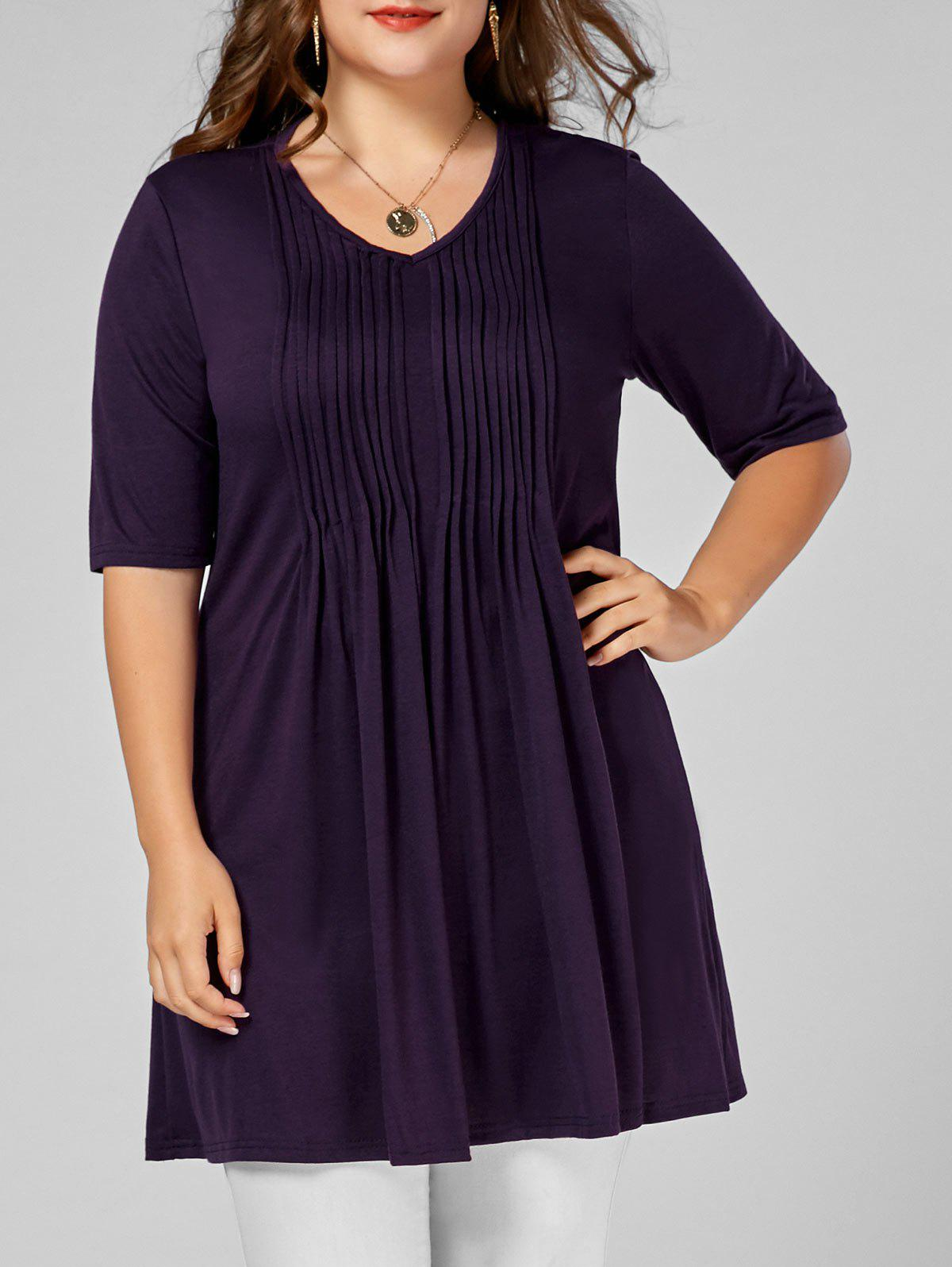 Pleated V Neck Plus Size Tunic TeeWOMEN<br><br>Size: 2XL; Color: DEEP PURPLE; Material: Polyester; Shirt Length: Long; Sleeve Length: Short; Collar: Round Neck; Style: Casual; Season: Summer; Pattern Type: Solid; Weight: 0.3200kg; Package Contents: 1 x Tee;