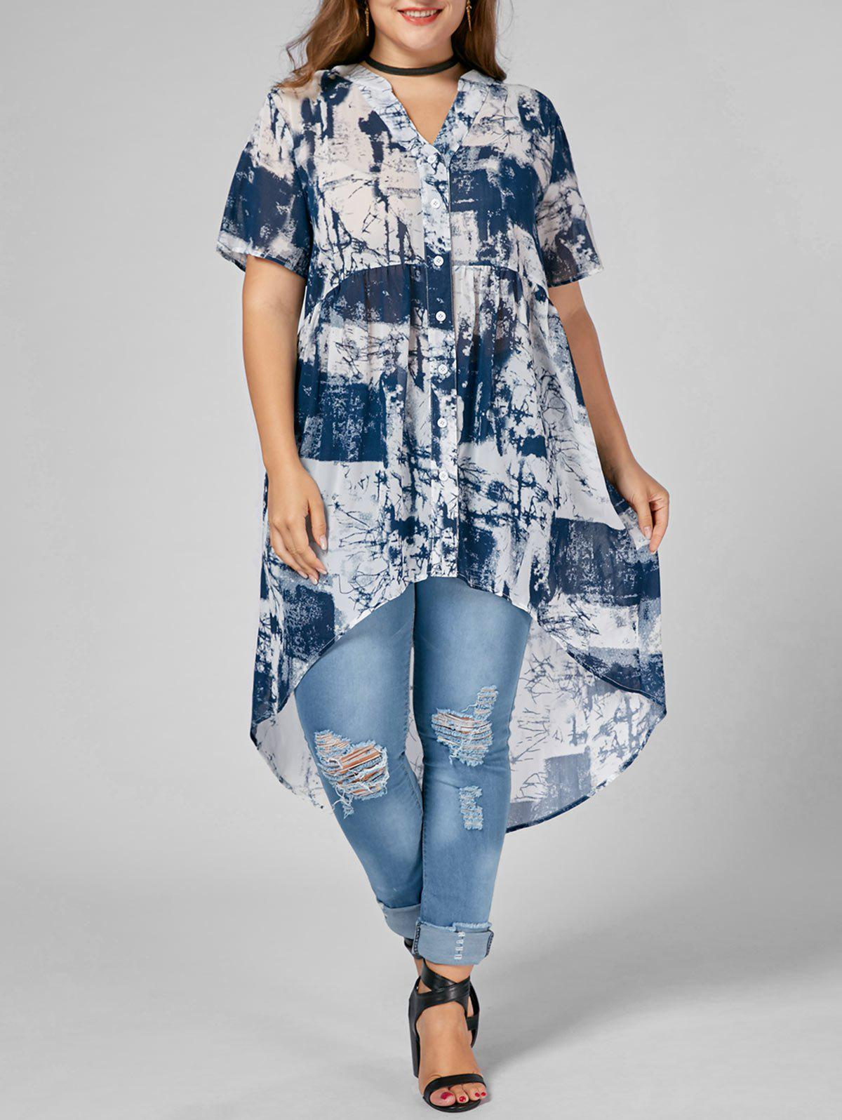 Chic Printed Chiffon High Low Plus Size Top