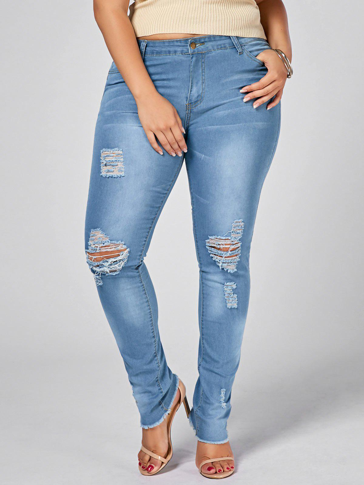 Light Wash Plus Size Ripped JeansWOMEN<br><br>Size: 3XL; Color: DENIM BLUE; Style: Fashion; Length: Ninth; Material: Jeans,Polyester; Fit Type: Skinny; Waist Type: Low; Closure Type: Zipper Fly; Pattern Type: Solid; Embellishment: Hole,Hollow Out; Pant Style: Pencil Pants; Weight: 0.4500kg; Package Contents: 1 x Jeans;