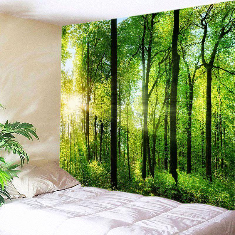 Sun Forest Print Tapestry Wall Hanging Art DecorationHOME<br><br>Size: W91 INCH * L71 INCH; Color: GREEN; Style: Natural; Theme: Landscape; Material: Polyester; Feature: Washable; Shape/Pattern: Forest; Weight: 0.4500kg; Package Contents: 1 x Tapestry;
