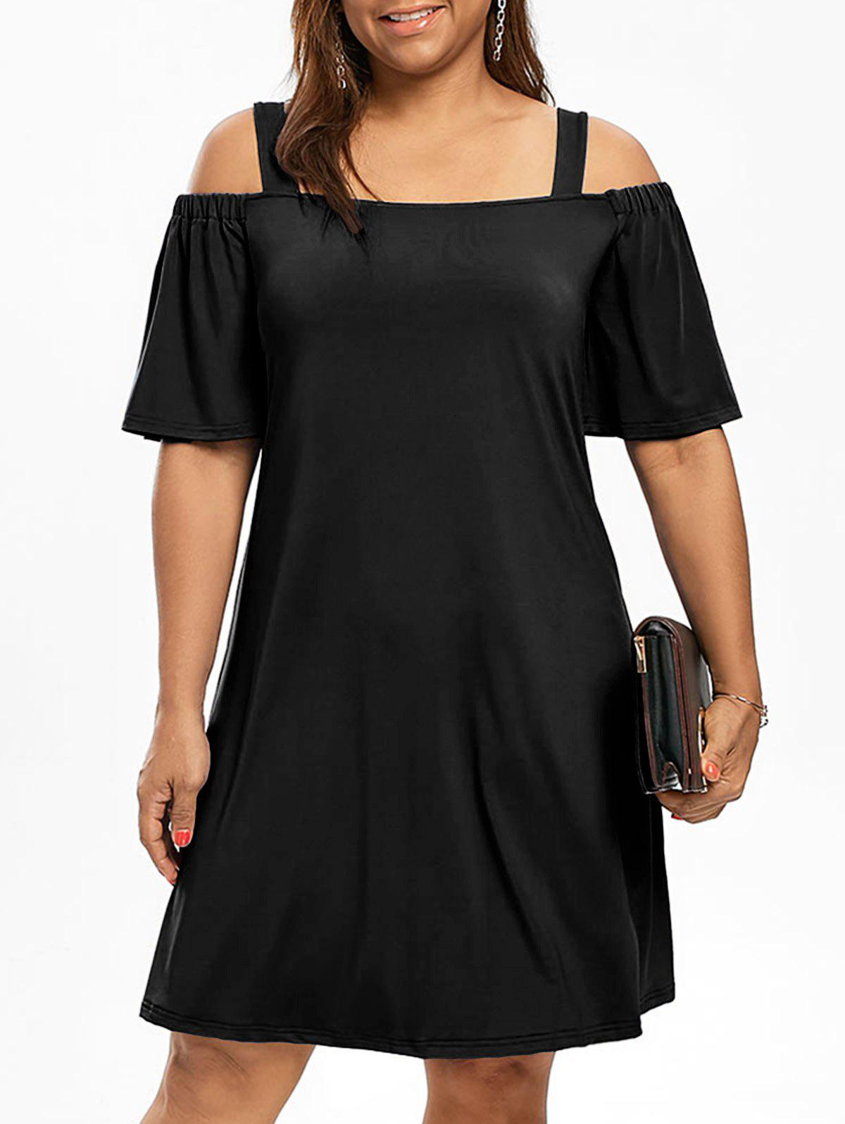 Cold Shoulder Half Sleeve Plus Size DressWOMEN<br><br>Size: 4XL; Color: BLACK; Style: Brief; Material: Polyester,Spandex; Silhouette: A-Line; Dresses Length: Knee-Length; Neckline: Square Collar; Sleeve Type: Flare Sleeve; Sleeve Length: Half Sleeves; Waist: Natural; Pattern Type: Solid Color; Elasticity: Elastic; With Belt: No; Season: Fall,Spring; Weight: 0.3200kg; Package Contents: 1 x Dress;