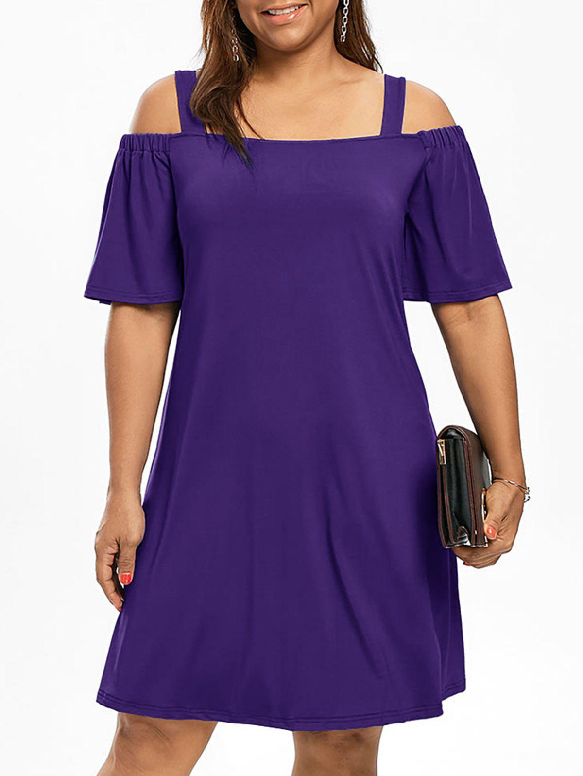 Cold Shoulder Half Sleeve Plus Size DressWOMEN<br><br>Size: 4XL; Color: PURPLE; Style: Brief; Material: Polyester,Spandex; Silhouette: A-Line; Dresses Length: Knee-Length; Neckline: Square Collar; Sleeve Type: Flare Sleeve; Sleeve Length: Half Sleeves; Waist: Natural; Pattern Type: Solid Color; Elasticity: Elastic; With Belt: No; Season: Fall,Spring; Weight: 0.3200kg; Package Contents: 1 x Dress;