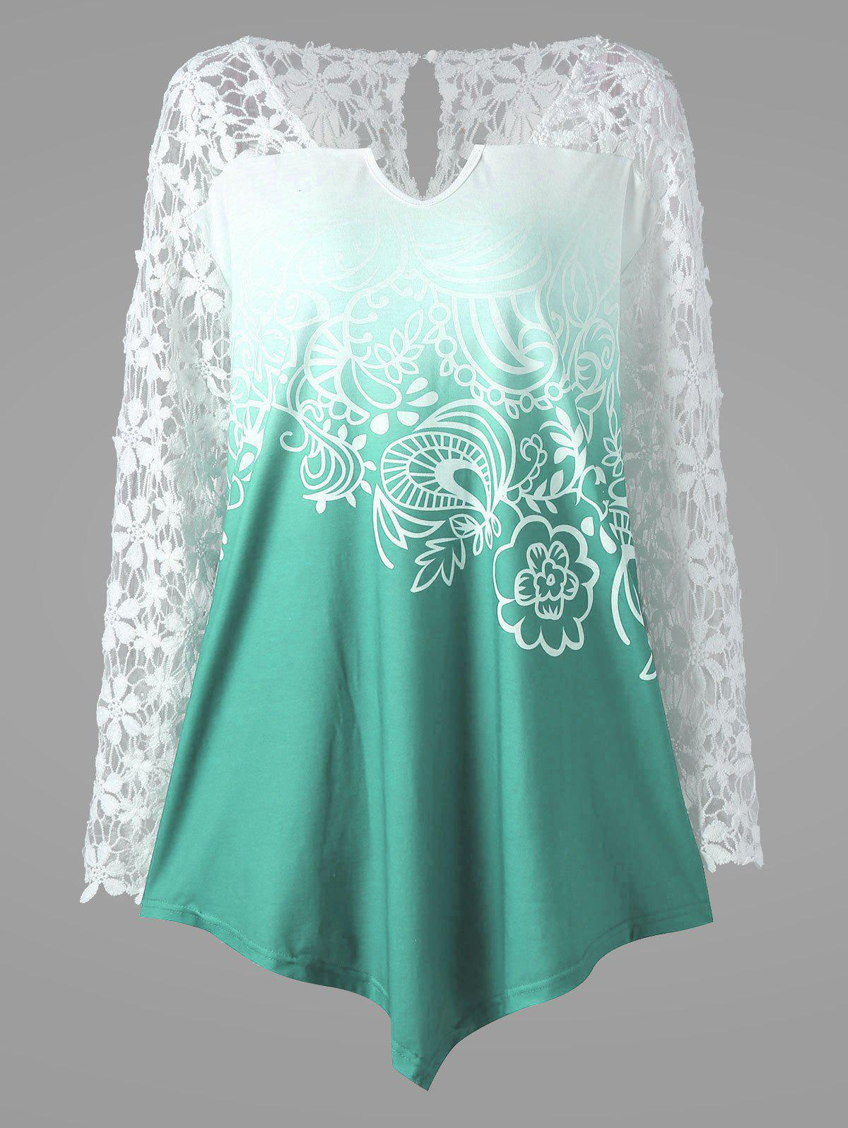 Plus Size Ombre Lace Yoke TopWOMEN<br><br>Size: 2XL; Color: LAKE GREEN; Material: Polyester,Spandex; Shirt Length: Long; Sleeve Length: Full; Collar: V-Neck; Style: Fashion; Season: Fall,Spring,Summer; Embellishment: Lace; Pattern Type: Floral; Weight: 0.2500kg; Package Contents: 1 x Blouse;