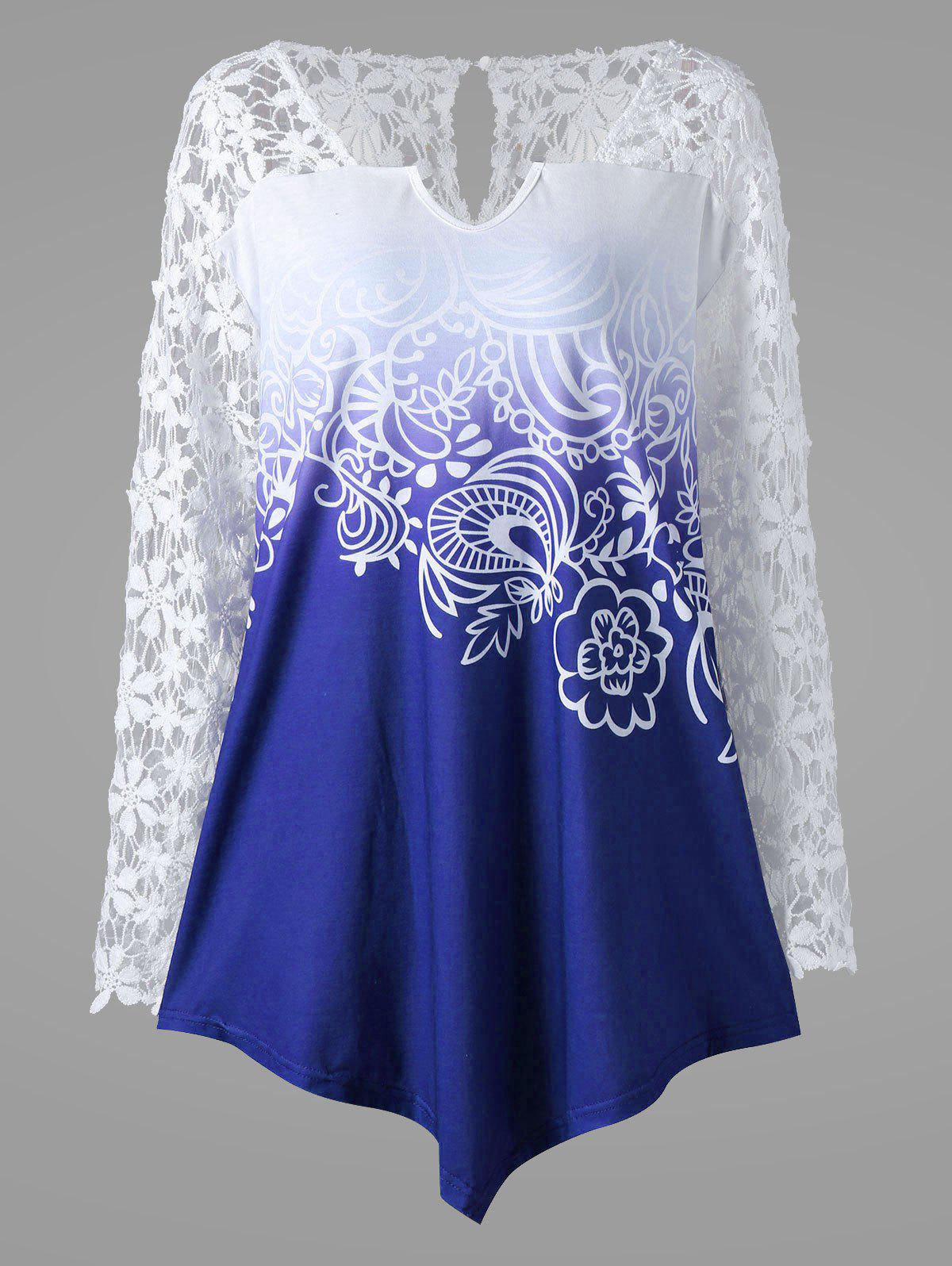 Plus Size Ombre Lace Yoke TopWOMEN<br><br>Size: 2XL; Color: BLUE; Material: Polyester,Spandex; Shirt Length: Long; Sleeve Length: Full; Collar: V-Neck; Style: Fashion; Season: Fall,Spring,Summer; Embellishment: Lace; Pattern Type: Floral; Weight: 0.2500kg; Package Contents: 1 x Blouse;