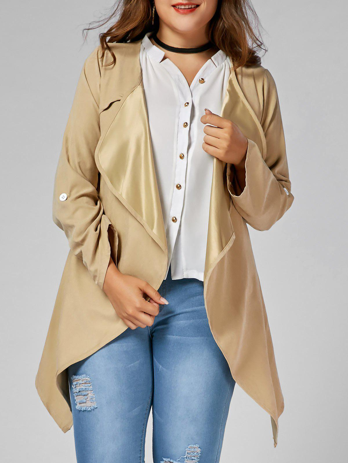Plus Size Open Front Asymmetric CoatWOMEN<br><br>Size: 3XL; Color: CAMEL; Clothes Type: Wool &amp; Blends; Material: Polyester; Type: Asymmetric Length; Shirt Length: Long; Sleeve Length: Full; Collar: Collarless; Pattern Type: Solid; Style: Fashion; Season: Fall,Spring; Weight: 0.3150kg; Package Contents: 1 x Coat;