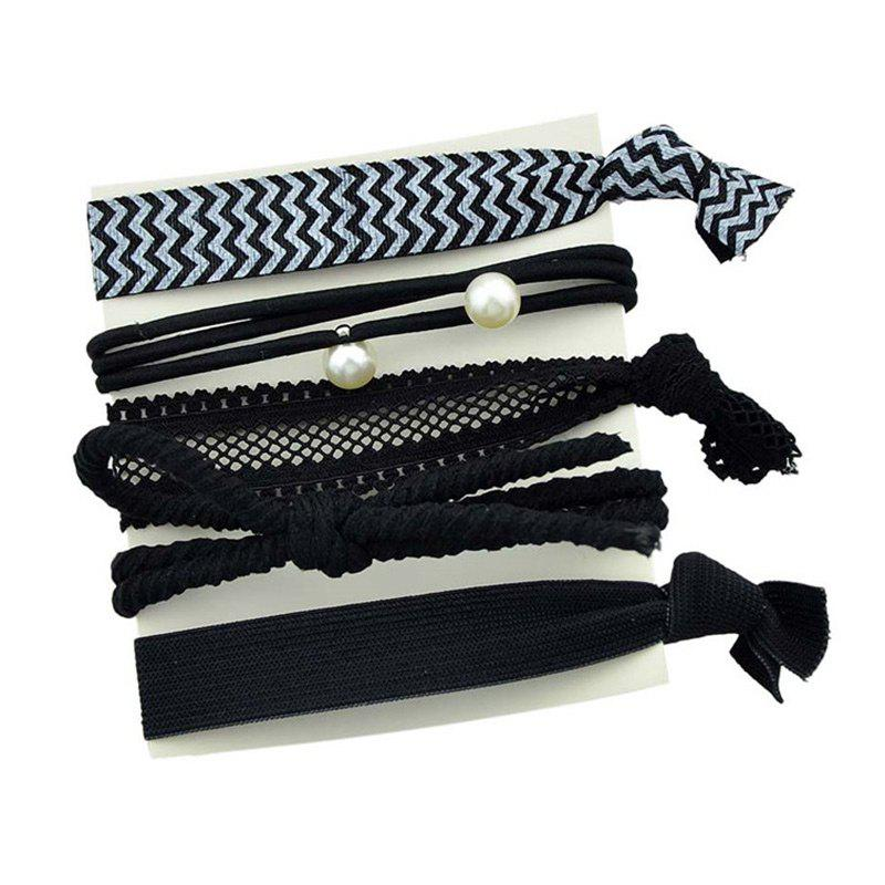 Artificial Pearl Bows Elastic Hair Band SetACCESSORIES<br><br>Color: BLACK; Headwear Type: Elastic Hair Band; Group: Adult; Gender: For Women; Style: Active; Shape/Pattern: Bowknot; Weight: 0.0350kg; Package Contents: 1 x Elastic Hair Band (Suit);