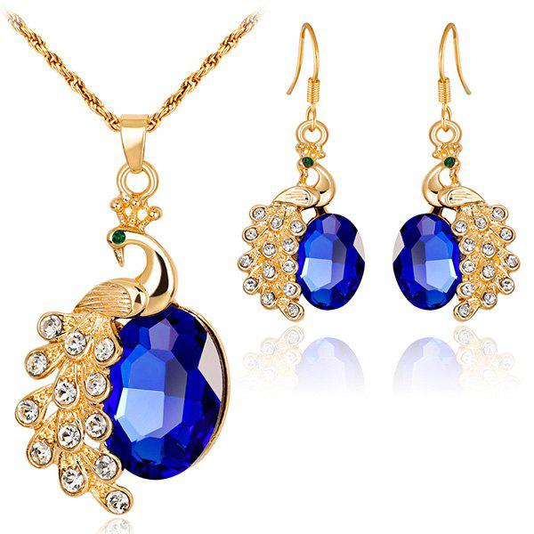 Peacock Shape Faux Gem Rhinestone Jewelry SetJEWELRY<br><br>Color: BLUE; Item Type: Pendant Necklace; Gender: For Women; Metal Type: Alloy; Style: Trendy; Shape/Pattern: Animal; Length: 45CM + Extension Chain:5CM; Weight: 0.0520kg; Package Contents: 1 x Necklace 1 x Earrings(Pair);