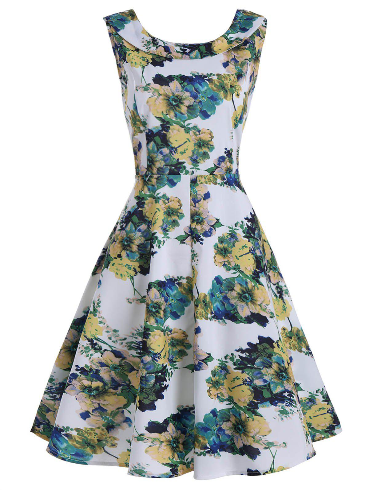 44598c3cd39a 2018 Flower Ink Painting Printed Vintage Dress In Colormix 2xl ...