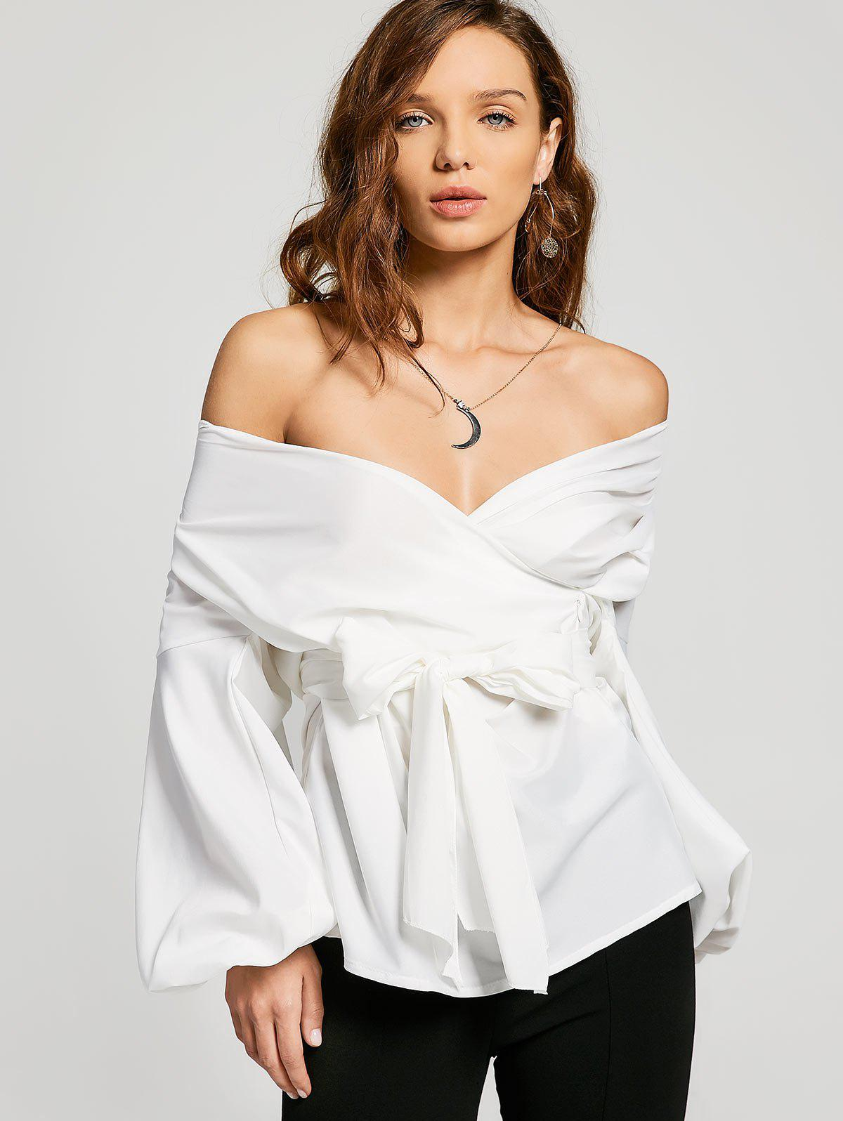 Off Shoulder Belted BlouseWOMEN<br><br>Size: M; Color: WHITE; Material: Cotton,Polyester; Shirt Length: Regular; Sleeve Length: Full; Collar: Off The Shoulder; Pattern Type: Solid; Style: Fashion; Seasons: Autumn,Spring; Weight: 0.2800kg; Package Contents: 1 x Blouse  1 x Belt; Occasion: Casual;