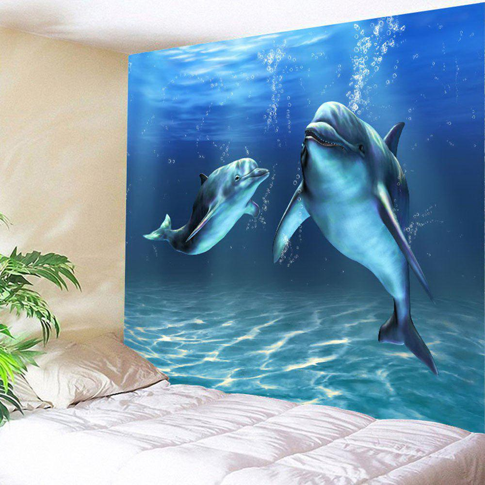 Dolphin Print Waterproof Wall Hanging TapestryHOME<br><br>Size: W79 INCH * L59 INCH; Color: BLUE; Style: Natural; Theme: Animals; Material: Polyester; Feature: Removable,Washable; Shape/Pattern: Animal; Weight: 0.3200kg; Package Contents: 1 x Tapestry;