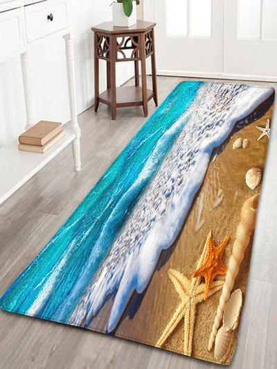 Beach Starfish Printed Antislip Flannel RugHOME<br><br>Size: W24 INCH * L71 INCH; Color: BLUE AND YELLOW; Products Type: Bath rugs; Materials: Flannel; Pattern: Scenic; Style: Beach Style; Shape: Rectangle; Package Contents: 1 x Rug;