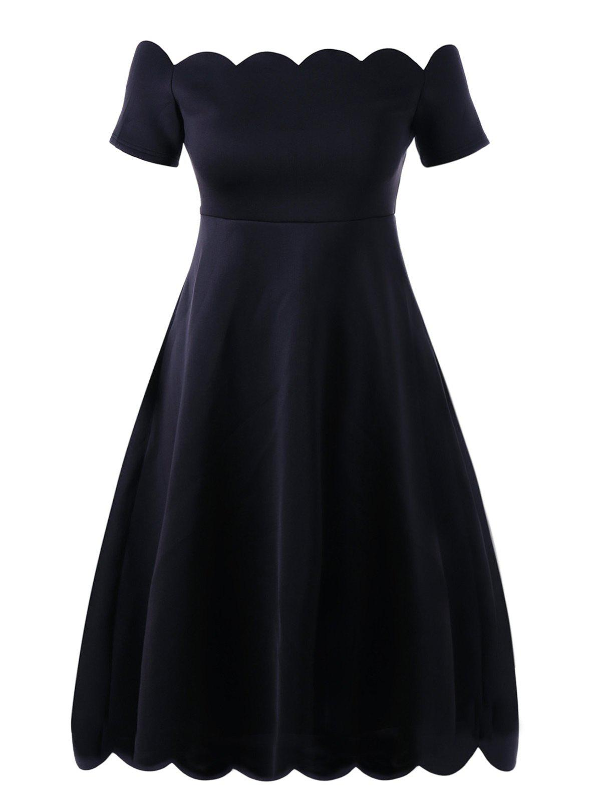 Off Shoulder Scalloped Plus Size Formal DressWOMEN<br><br>Size: 5XL; Color: BLACK; Style: Vintage; Material: Polyester,Spandex; Silhouette: A-Line; Dresses Length: Knee-Length; Neckline: Off The Shoulder; Sleeve Length: Short Sleeves; Pattern Type: Solid; With Belt: No; Season: Spring,Summer; Weight: 0.6880kg; Package Contents: 1 x Dress;