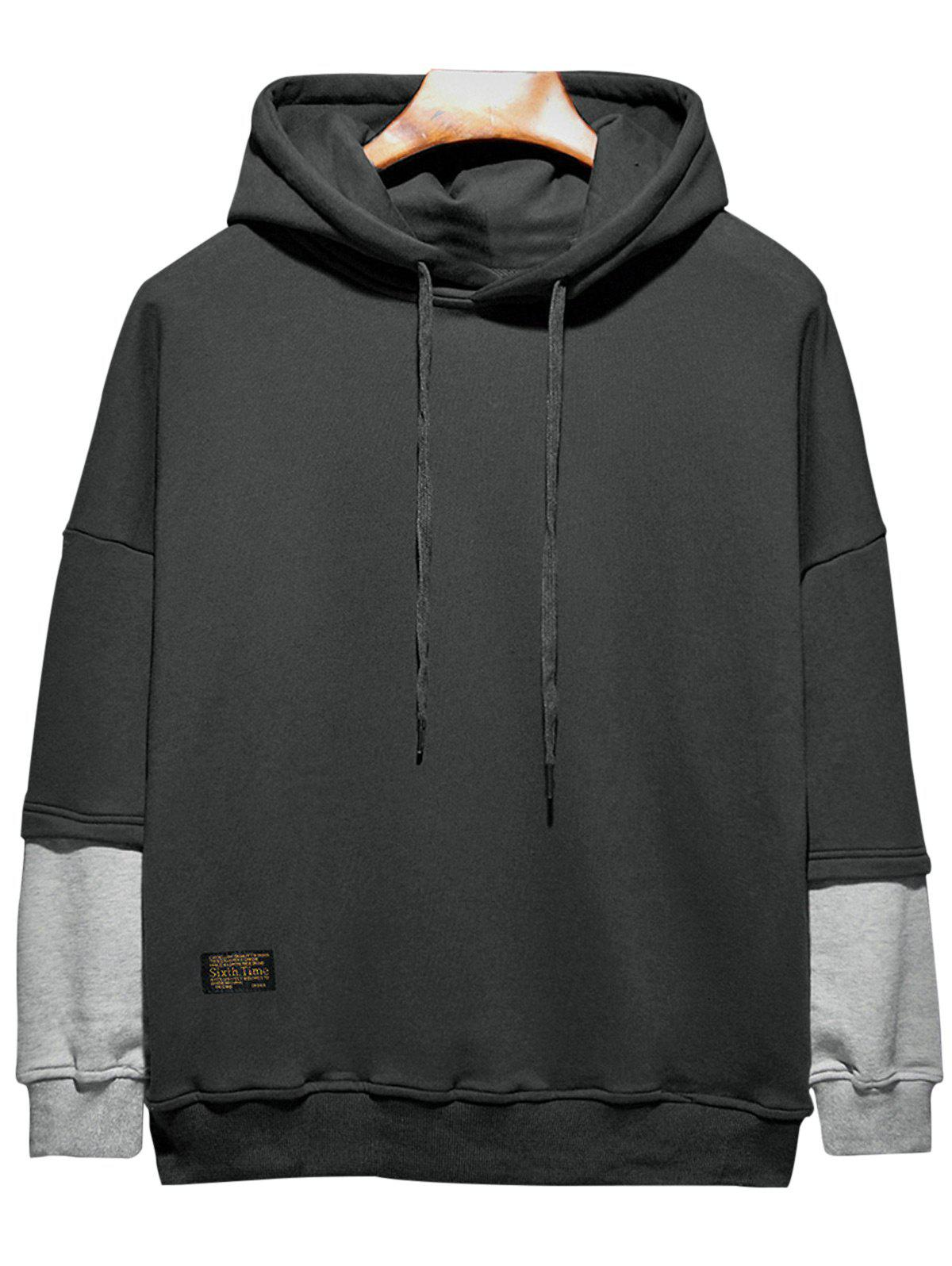 Plus Size Hooded Color Block Panel Raglan Sleeve HoodieMEN<br><br>Size: 5XL; Color: BLACK; Clothes Type: Others; Style: Fashion; Material: Cotton,Polyester; Collar: Hooded; Shirt Length: Regular; Sleeve Length: Long Sleeves; Season: Fall; Weight: 0.6100kg; Package Contents: 1 x Hoodie;