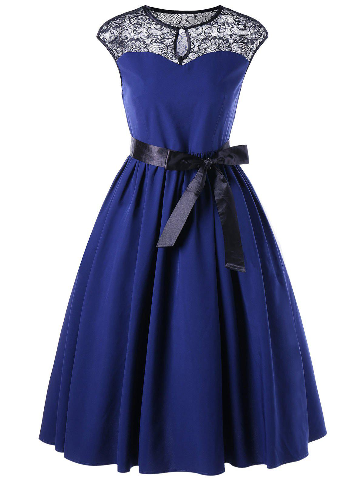 Lace Trim Keyhole Cap Sleeve Vintage DressWOMEN<br><br>Size: XL; Color: BLUE; Style: Vintage; Material: Polyester; Silhouette: A-Line; Dresses Length: Knee-Length; Neckline: Keyhole Neck; Sleeve Length: Short Sleeves; Pattern Type: Solid; With Belt: Yes; Season: Spring,Summer; Weight: 0.3390kg; Package Contents: 1 x Dress  1 x Belt;