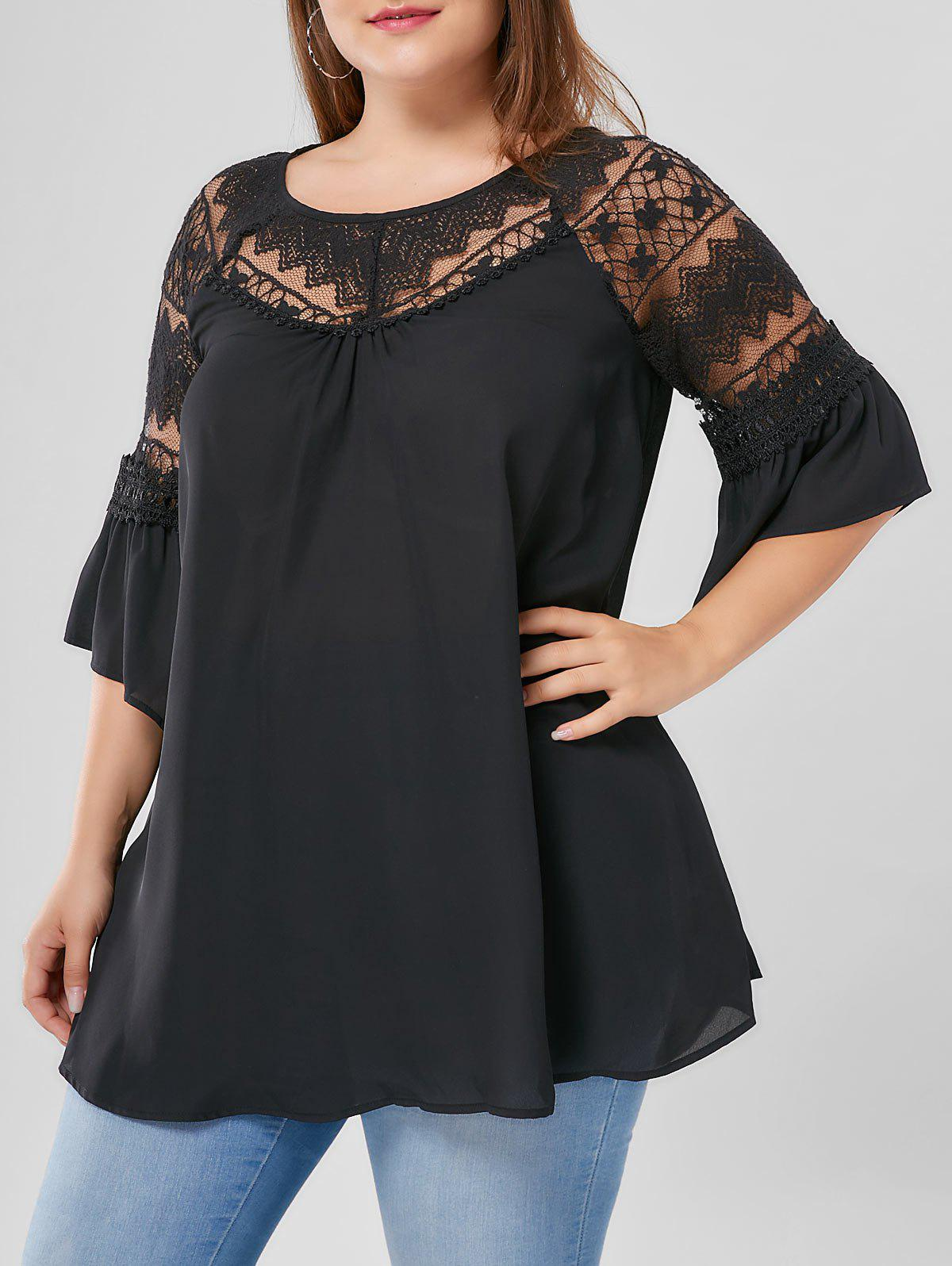 Plus Size Flare Sleeve Lace Yoke BlouseWOMEN<br><br>Size: XL; Color: BLACK; Material: Polyester; Shirt Length: Long; Sleeve Length: Half; Collar: Round Neck; Style: Fashion; Season: Fall,Spring,Summer; Embellishment: Lace; Pattern Type: Solid; Weight: 0.2200kg; Package Contents: 1 x Blouse;