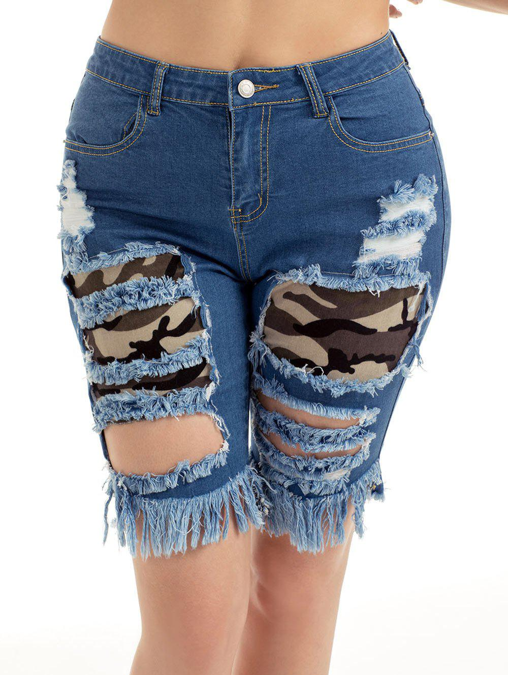 Outfit Camouflage Panel Distressed Denim Shorts