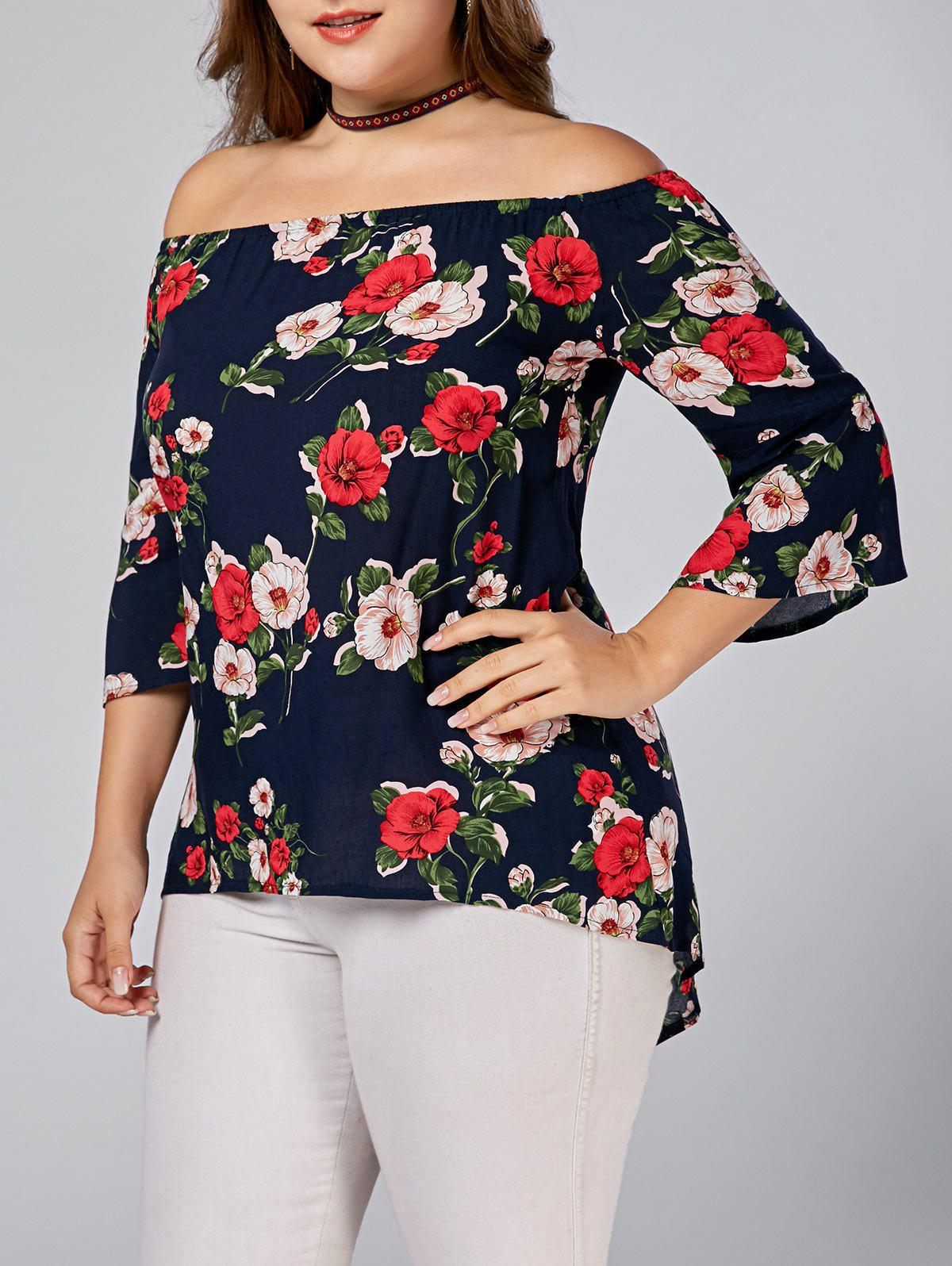 Plus Size Floral Printed Off Shoulder TopWOMEN<br><br>Size: 4XL; Color: DEEP BLUE; Material: Cotton Blends,Polyester; Shirt Length: Long; Sleeve Length: Three Quarter; Collar: Off The Shoulder; Style: Fashion; Season: Spring,Summer; Sleeve Type: Flare Sleeve; Pattern Type: Floral; Weight: 0.1800kg; Package Contents: 1 x Top;