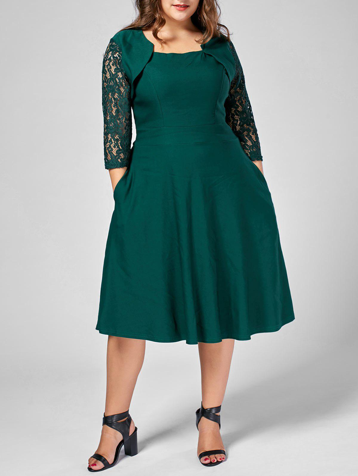 Plus Size Lace Trim A Line Midi DressWOMEN<br><br>Size: 5XL; Color: GREEN; Style: Brief; Material: Polyester; Silhouette: A-Line; Dresses Length: Mid-Calf; Neckline: Square Collar; Sleeve Length: 3/4 Length Sleeves; Pattern Type: Solid Color; With Belt: No; Season: Fall,Summer; Weight: 0.4700kg; Package Contents: 1 x Dress;