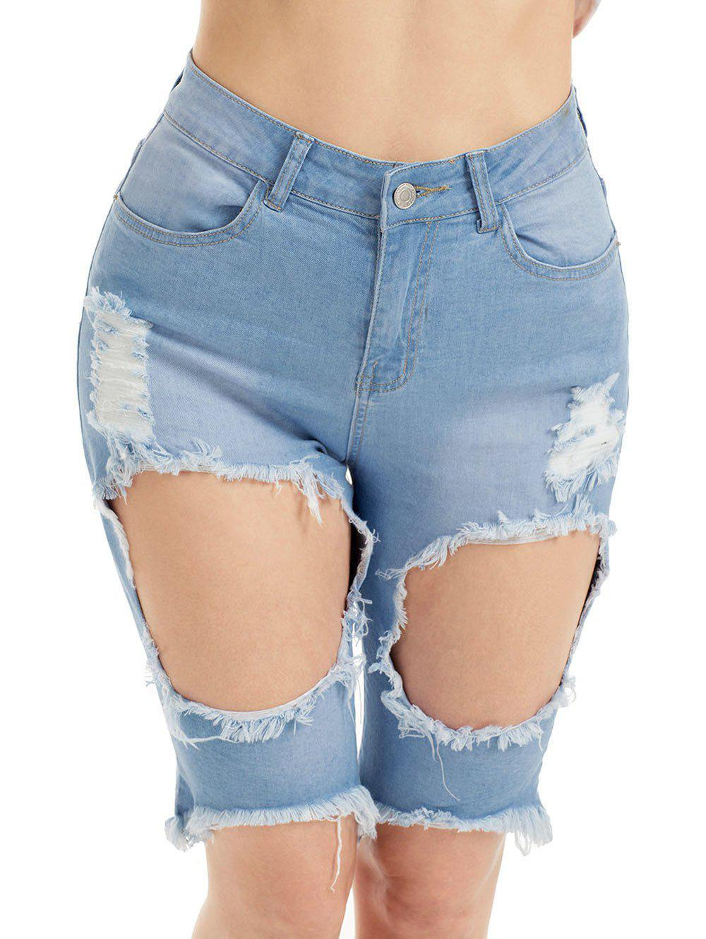 Outfits Distressed High Waist Bermuda Jean Shorts