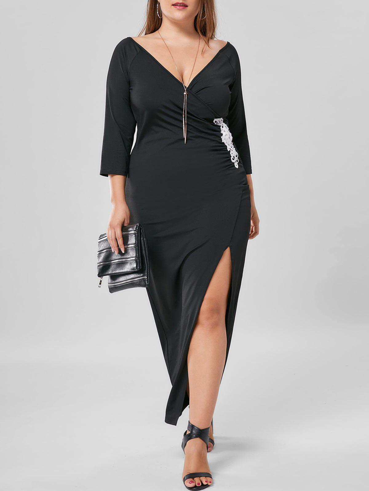 Fitted Pencil Plus Size Applique Side Slit Long Sheath Maxi DressWOMEN<br><br>Size: XL; Color: BLACK; Style: Brief; Material: Polyester,Spandex; Silhouette: Sheath; Dresses Length: Ankle-Length; Neckline: Plunging Neck; Sleeve Length: 3/4 Length Sleeves; Embellishment: Appliques; Pattern Type: Solid; With Belt: No; Season: Fall,Spring,Summer; Weight: 0.4000kg; Package Contents: 1 x Dress;
