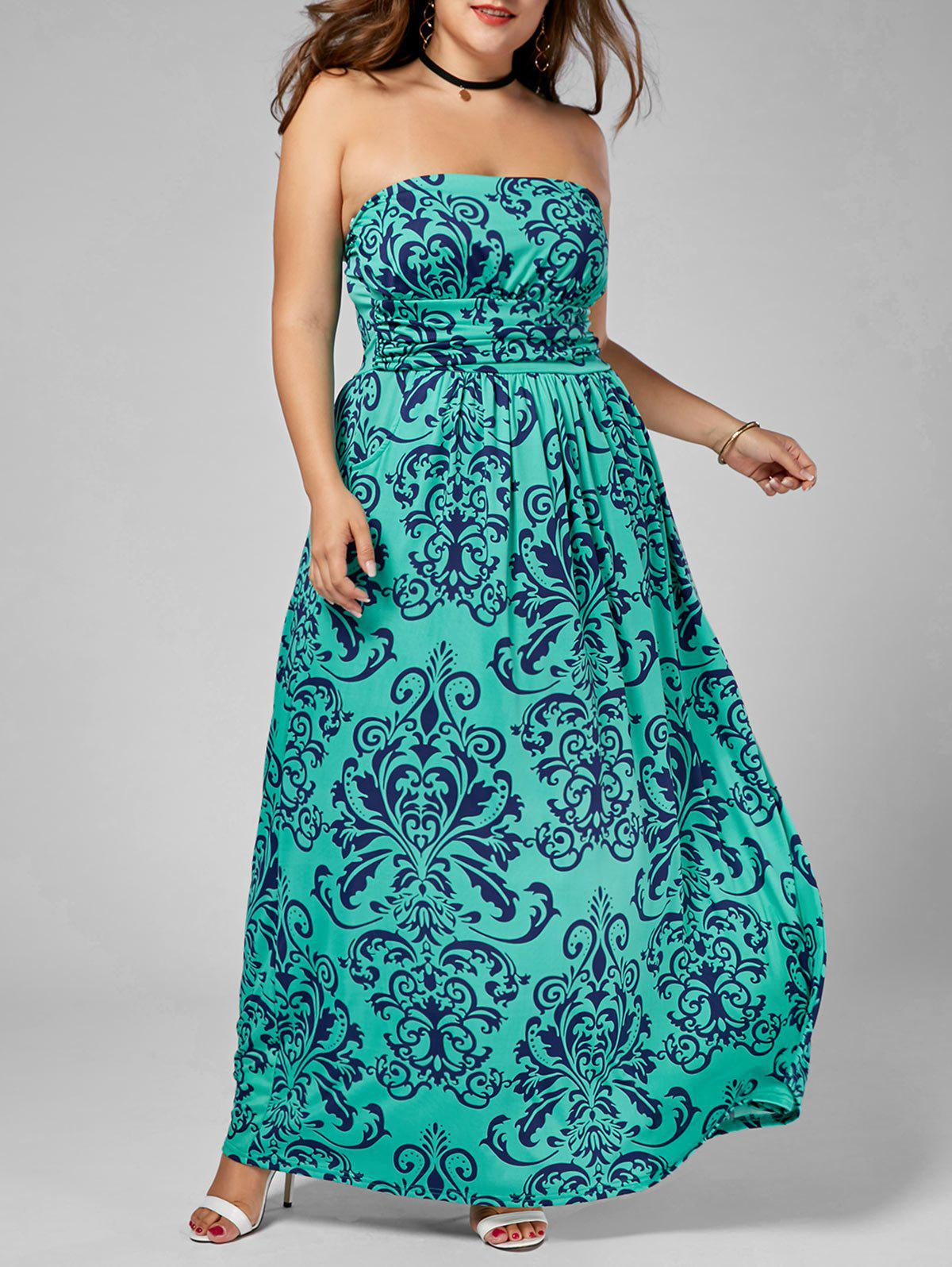 Plus Size Strapless Printed Long Summer DressWOMEN<br><br>Size: 3XL; Color: MULTI; Style: Cute; Material: Polyester; Silhouette: A-Line; Dresses Length: Floor-Length; Neckline: Strapless; Sleeve Length: Sleeveless; Pattern Type: Print; With Belt: No; Season: Summer; Weight: 0.5200kg; Package Contents: 1 x Dress;