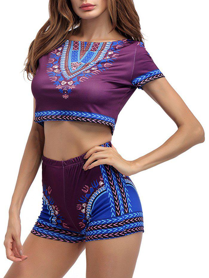 New Ethnic Printed Crop Top With High Waisted Shorts