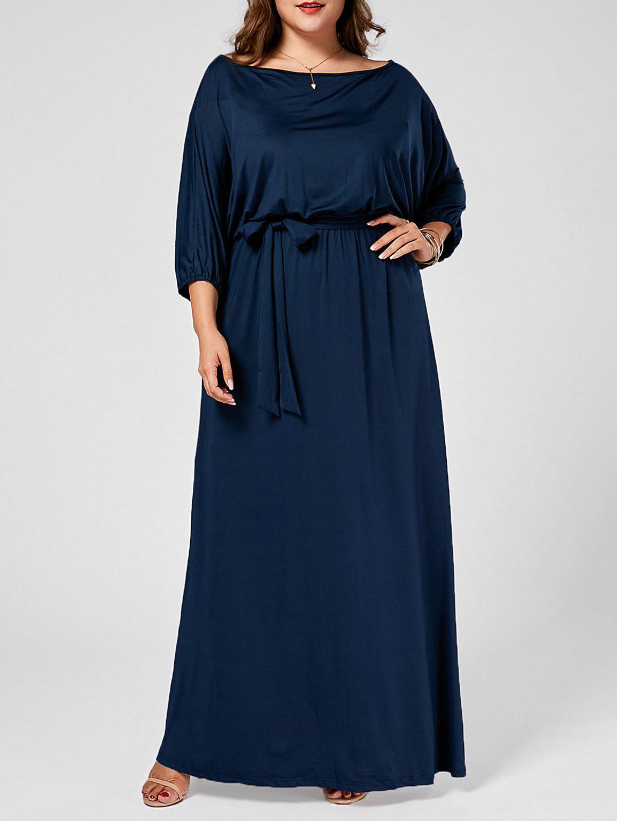 Skew Neck Batwing Plus Size Maxi DressWOMEN<br><br>Size: 3XL; Color: PURPLISH BLUE; Style: Brief; Material: Cotton Blend,Polyester; Silhouette: Straight; Dresses Length: Ankle-Length; Neckline: Skew Collar; Sleeve Type: Batwing Sleeve; Sleeve Length: Short Sleeves; Pattern Type: Solid Color; With Belt: Yes; Season: Spring,Summer; Weight: 0.4000kg; Package Contents: 1 x Dress 1 x Belt;