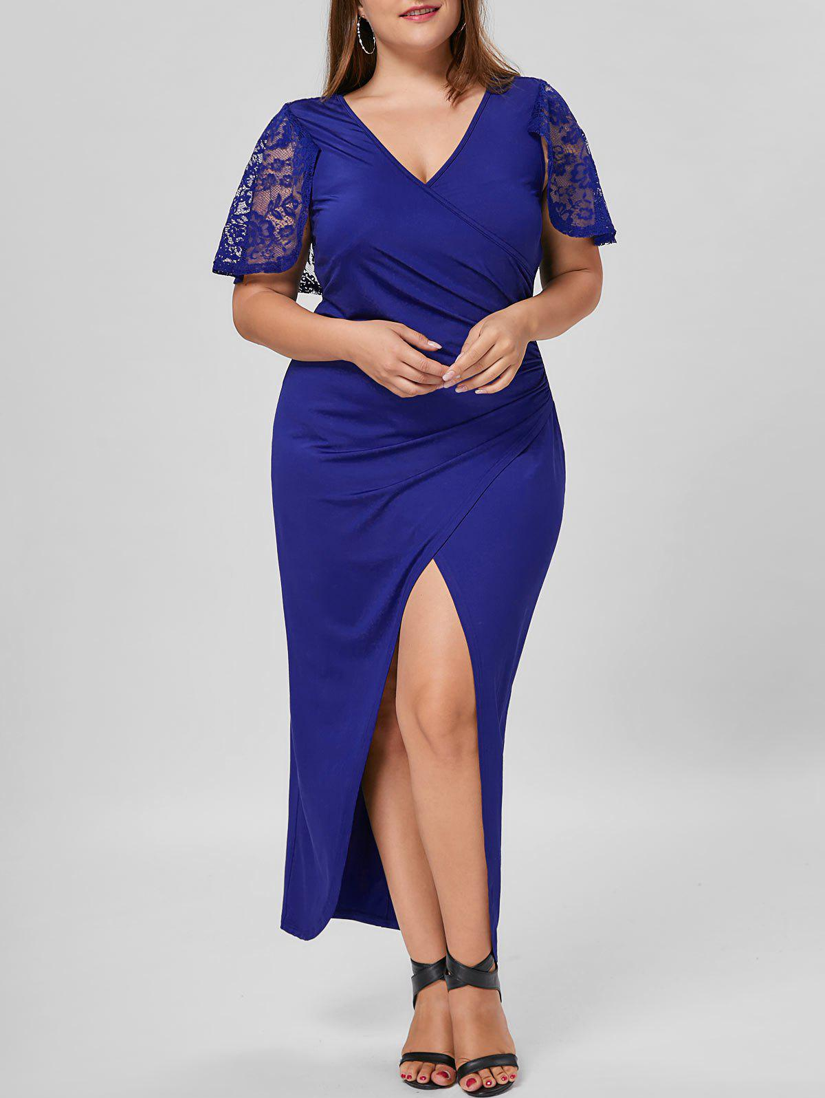 Plus Size Lace Capelet Longline Slit DressWOMEN<br><br>Size: 5XL; Color: BLUE; Style: Brief; Material: Polyester,Spandex; Silhouette: Sheath; Dresses Length: Ankle-Length; Neckline: V-Neck; Sleeve Length: Short Sleeves; Embellishment: Lace; Pattern Type: Solid Color; With Belt: No; Season: Summer; Weight: 0.4500kg; Package Contents: 1 x Dress;