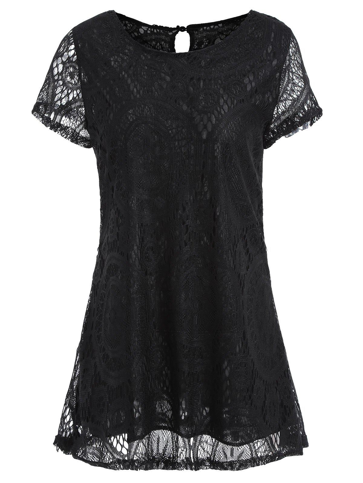 Long Plus Size Short Sleeve Lace TeeWOMEN<br><br>Size: XL; Color: BLACK; Material: Polyester; Shirt Length: Long; Sleeve Length: Short; Collar: Round Neck; Style: Fashion; Season: Spring,Summer; Pattern Type: Solid; Weight: 0.2260kg; Package Contents: 1 x Tee;