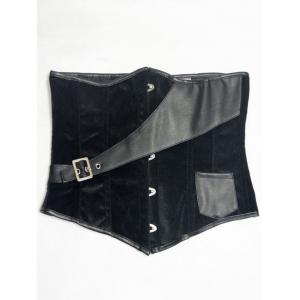 Faux Leather Insert Velvet Waist Corset - Black - 2xl