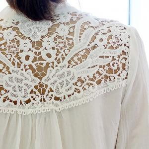 Half Sleeve Floral Lace Panel Blouse -